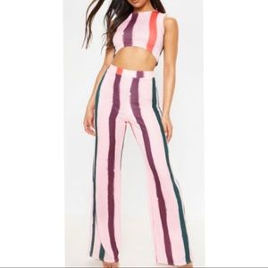Light Pink Multi Thick Stripe Wide Leg Pants
